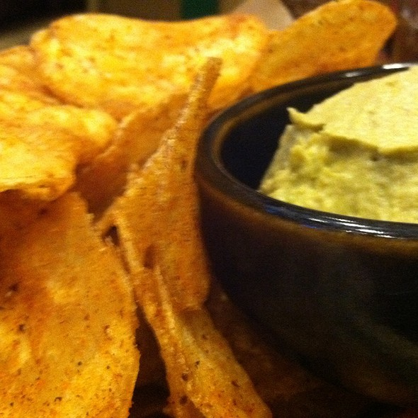 House Fried Harissa Chips With Avocado Hummus - Pete's Sunset Grille, Huntington Beach, CA