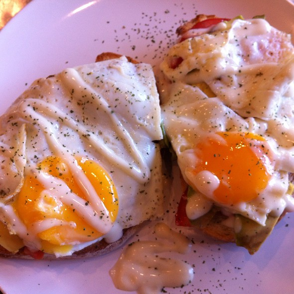 Open Toastie With Free Range Eggs, Avocado And Tomato On Sourdough Toast @ Project 8 Cafe