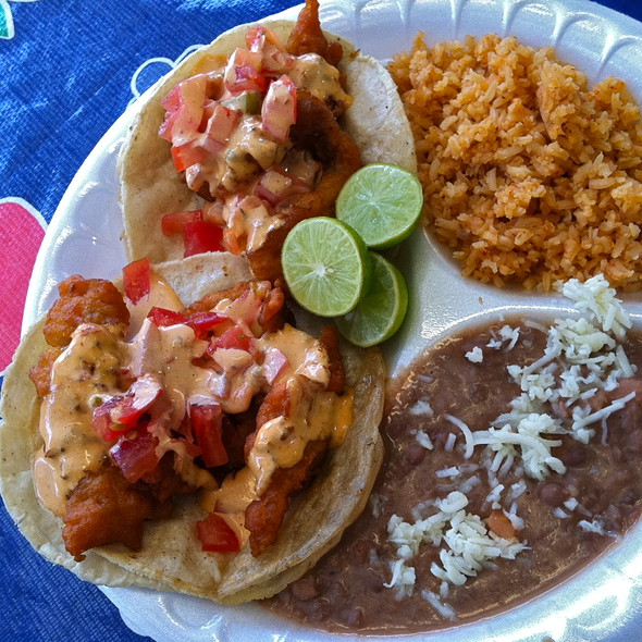 Fish Tacos, Rice, Beans