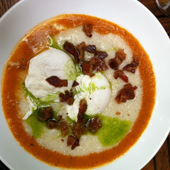 Cheddar Bacon Grits w/ Poached Eggs & Roast Tomato Sauce @ Home Restaurant