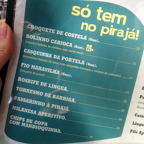 Menu @ Pirajá