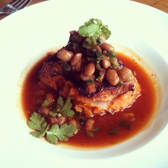Grilled Pork Over Sweet Potatoes And Bean Salad - Spruce Farm & Fish, Boulder, CO