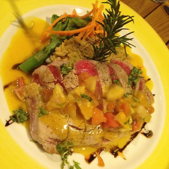 Ahi Tuna With Passion-Mango Sauce And Basmati Mamposteao Rice @ The Garden