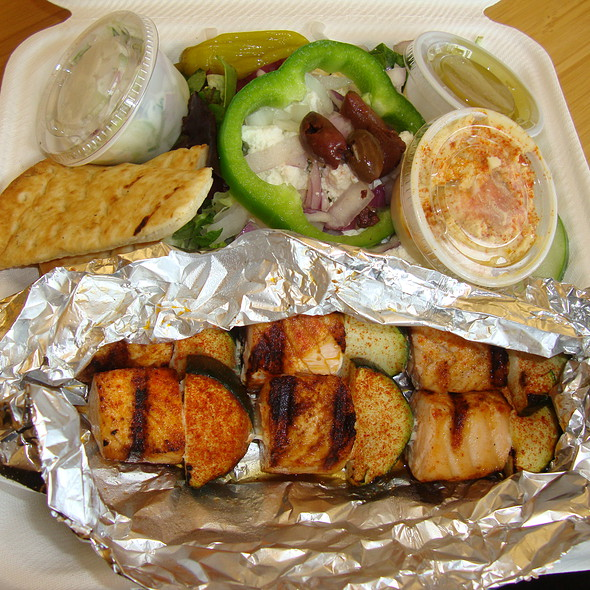 Zoes Kitchen Salmon Kabob zoe's kitchen - salmon kabobs - foodspotting