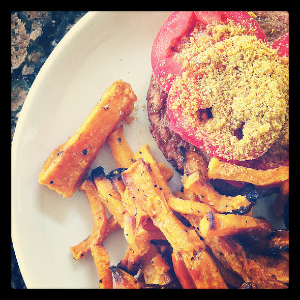 Veggie Burger & Butternut Squash Fries @ Home