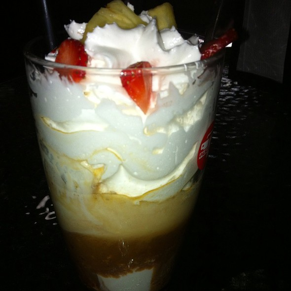Cold Coffee With Whipped Yoghurt And Fruits