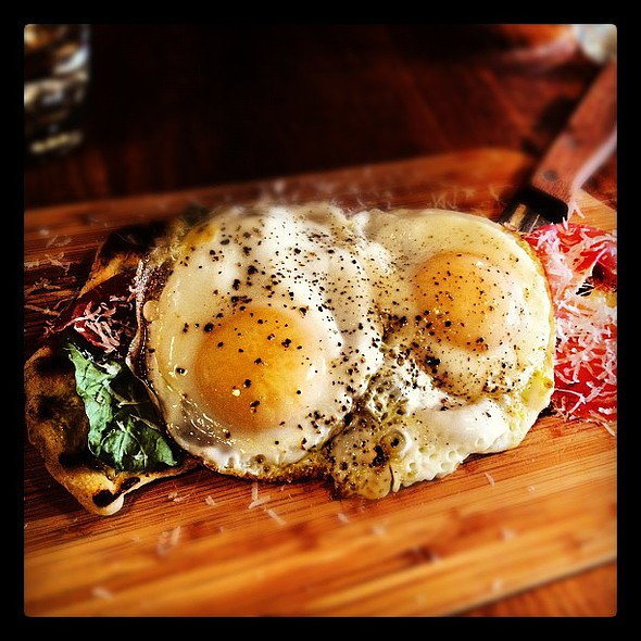 eggs over speck & arugula on flatbread @bettonyc @ Betto