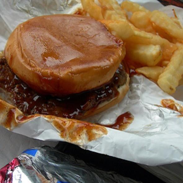 hamburger & fries @ Milo's Hamburgers