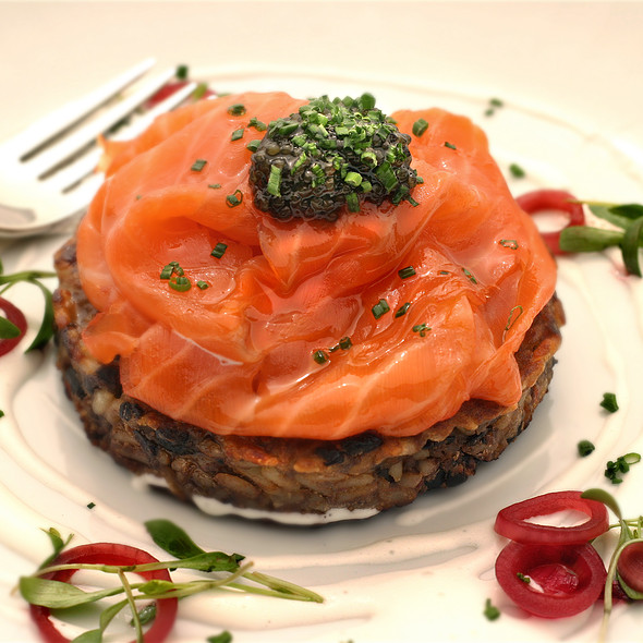 Smoked Salmon on a South American Black Bean Cake @ Bracken's Kitchen