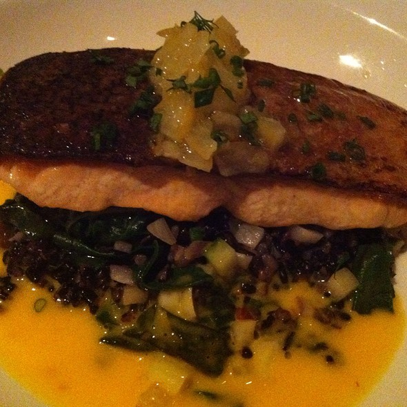 Seared Organic Scottish Salmon With Black Rice, Spinach And Meyer Lemon Reduction - Luma on Park, Winter Park, FL