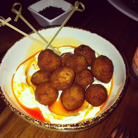 Fried Olives With Labne & Harissa Oil @ Balaboosta