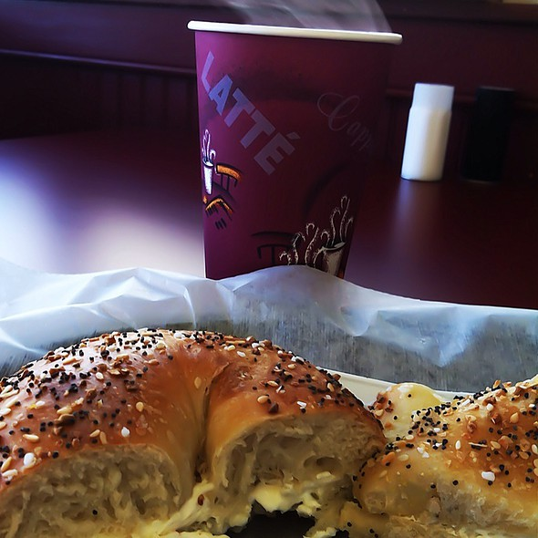 Everything Bagel With Olive Spread Cream Cheese @ Cupertino's New York Bagels & Deli
