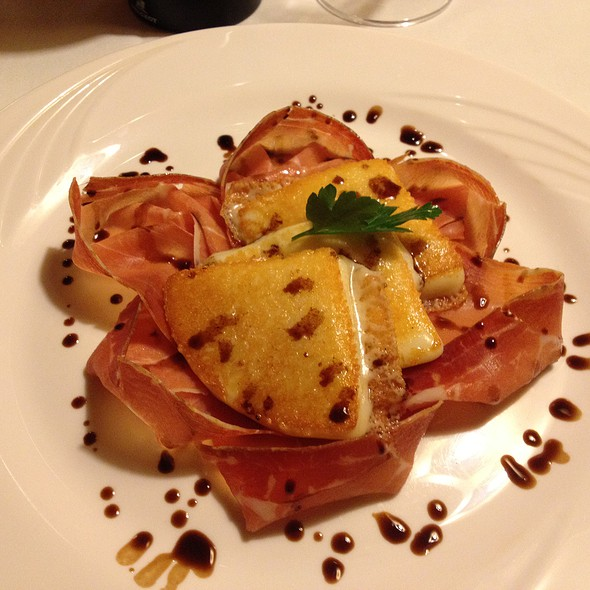 Grilled Auricchio cheese with ham and balsamico  @ San Martino Restaurant
