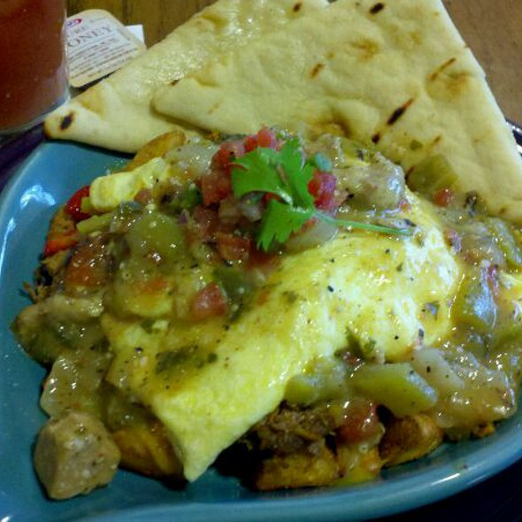 Breakfast skillet with Pork Carnitas Smothered @ Mesa Verde