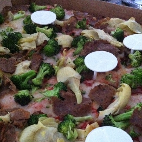 Sicilian Pizza With Artichokes, Meatball, & Broccoli @ Village Pizzeria - Larchmont Pizza Delivery