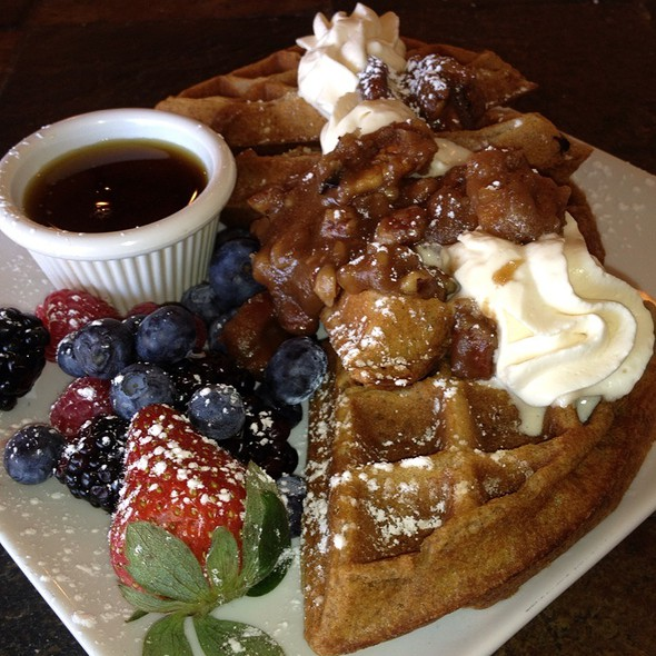 Maple Praline Belgian Waffles With Caramel Cream and Pure Maple Syrup @ Natalias Elegant Creations Llc