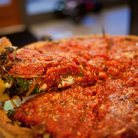 Brass Monkey Deep Dish Pizza @ Blue Line Pizza