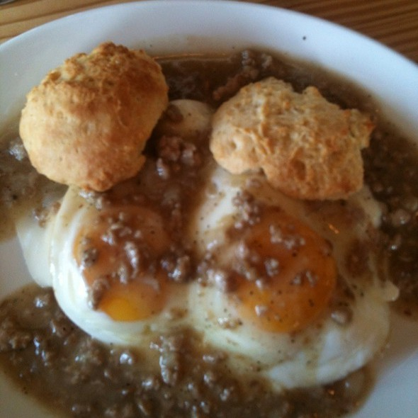 Biscuits And Gravy With Fontina And Fried Eggs @ Sunshine Tavern