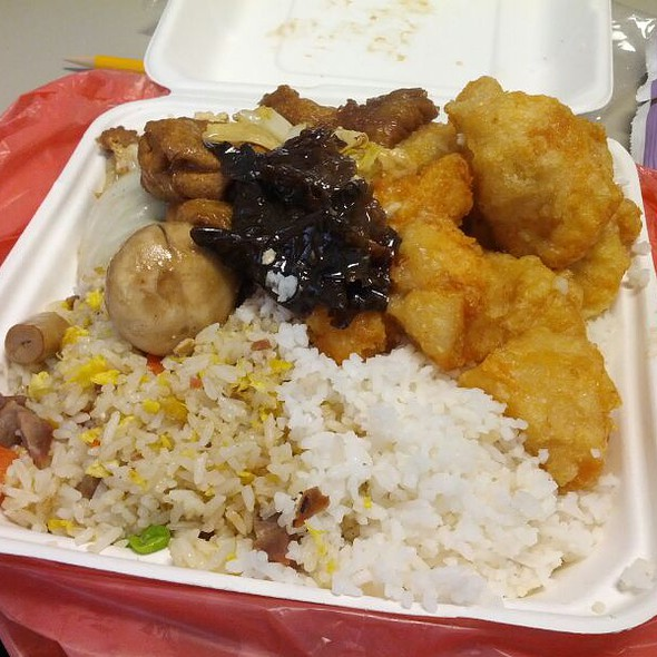 Fried Chicken, Lai Hon Vegetables Over Fried Rice And White Rice @ Dragon BBQ Express