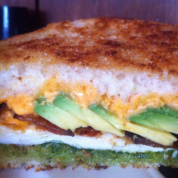 Pimento Chicken Sandwich W/ Avocado, Bacon And Pesto. @ Devil's Food