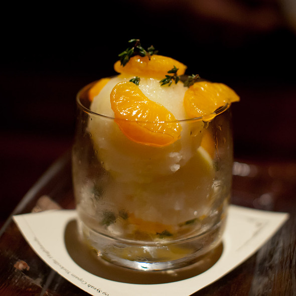 Meyer Lemon Sorbet with Fresh Thyme, Sous Vide Mandarins, Sea Salt, Sicilian Orange Oil @ Zero Zero