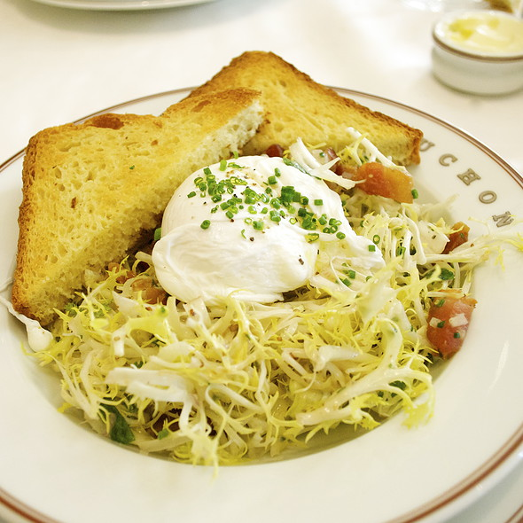 Frisee Salad with Lardons & Poached Egg @ bouchon bistro