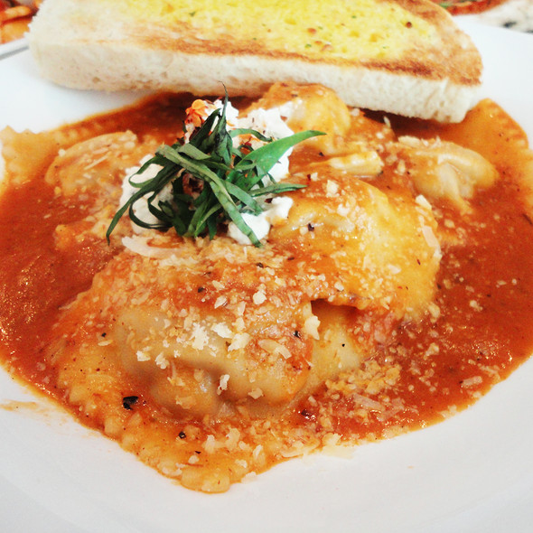 Italian Sausage Ravioli in Romesco Sauce  @ Bistro Ravioli