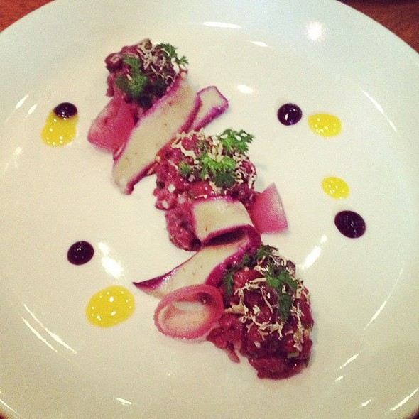 unreal! white-tail (that's a #deer) tartare with #blueberry cured #foie gras  #toronto #dinner @ Ursa