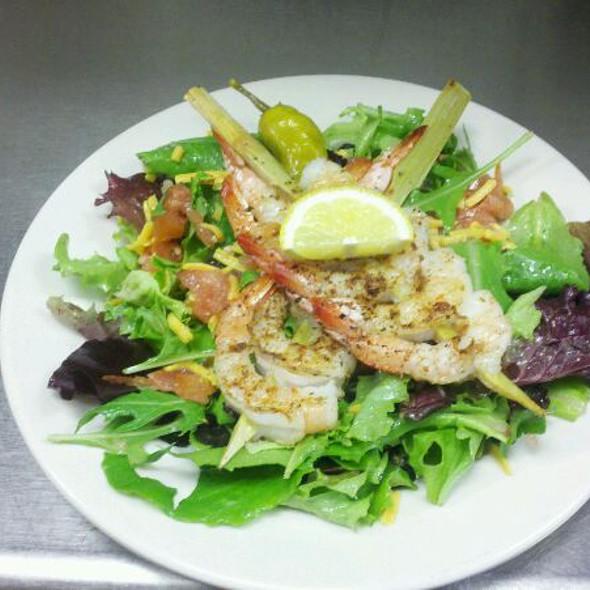 Salad With Sugar Cane Skewered Shrimp