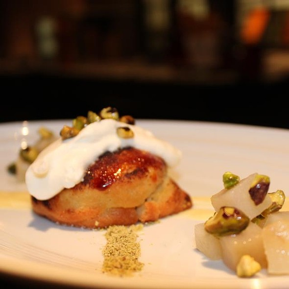 Roasted Baby Forelli Pear with Almond Pistachio Cream