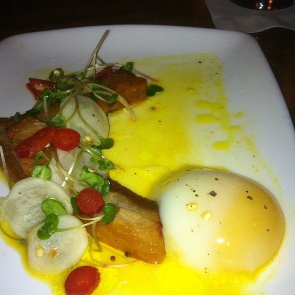 Niemann Ranch Pork Belly With A Poached Egg, Green Pea Leaf, Radiish And Hot Peppars