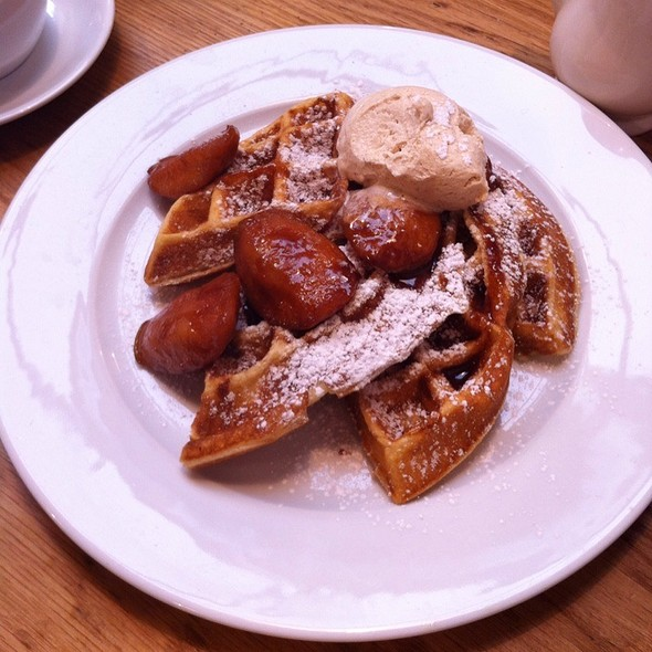 Crisp Belgian Waffles With Cinnamon Cream And Apples @ Tom's Kitchen