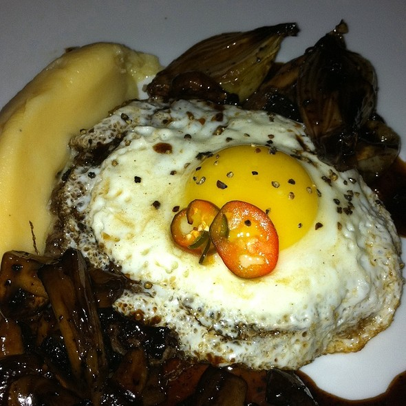 Beef Burger, Mushrooms In Red Wine Sauce Topped With Fried Egg @ Toto Resturant
