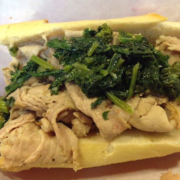 roast pork sandwich with broccoli rabe and provolone @ Dinic's Oven Roasted Beef & Pork