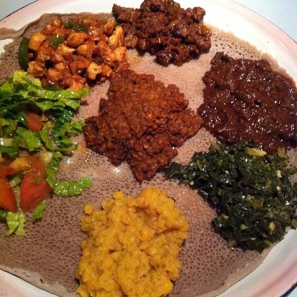 Three Amazing Meat Dishes. & Three Amazing Vegetarian Dishes. - Addis Ethiopian, Richmond, VA