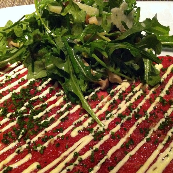 Wagyu Carpaccio With Arugula And Wild Mushroom Salad @ AnQi By Crustacean