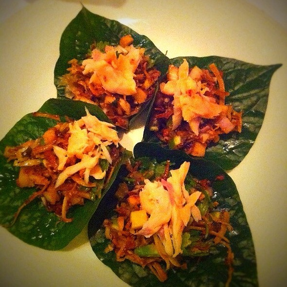 Smoked Trout On Betel Leaves @ tapioca Restaurant
