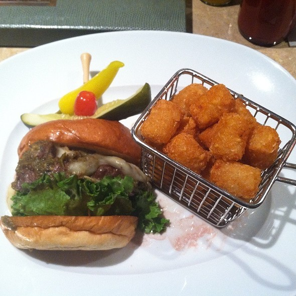 Signature Burger With Pork Verde & Pepper Jack @ Relish Bistro Bar