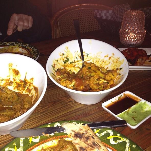 Punjabi Lamb Curry, Tandoori Chicken, Cauliflower And Potato Curry & Garluc Naan - Khazana - Fine Indian Cuisine, Edmonton, AB