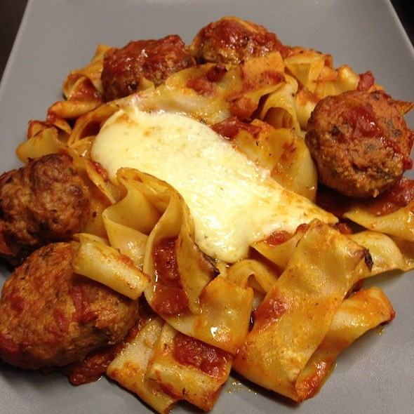 Meat Balls, Papardelle And Ladotiri Cheese, In The Oven @ Melilotos