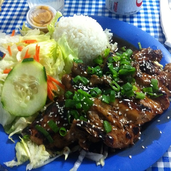 Terriaki Chicken With Rice, Onions, Snd Zuccini Drenched In Yum Yum Sauce @ Blue Ginger Cafe