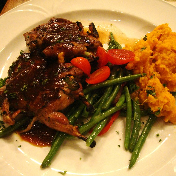 Bacon-Wrapped, Jalapeno-Stuffed Quail with Mashed Sweet Potatoes & Green Beans @ Cabernet Grill Texas Wine Country Restaurant