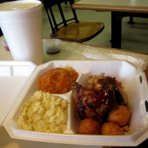 BBQ Chicken Plate with Hushpuppies