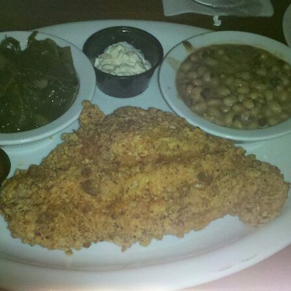 fried catfish, collard greens, and black eyed peas - Paschal's Restaurant, Atlanta, GA