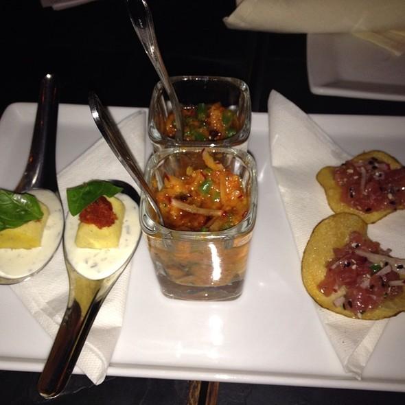 Polenta With Chevre, Gazpacho, Tuna Tartare @ Volo Wine Bar