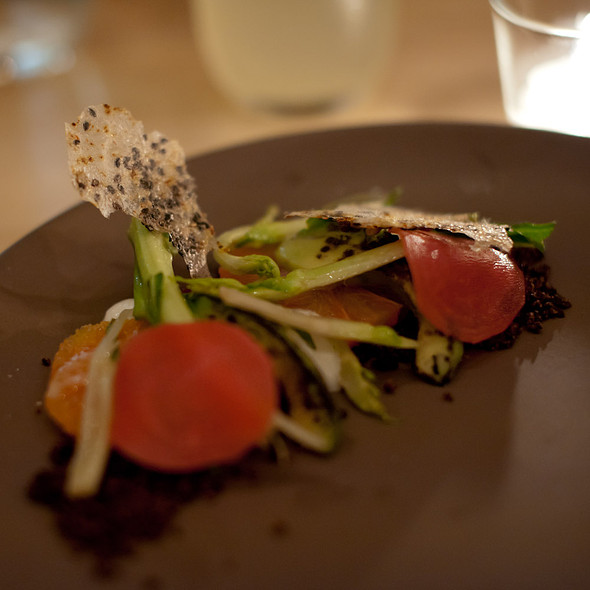 Citrus salad, charred avocado, beet-black olive crumble, yogurt mousse, sesame cracker @ Commonwealth
