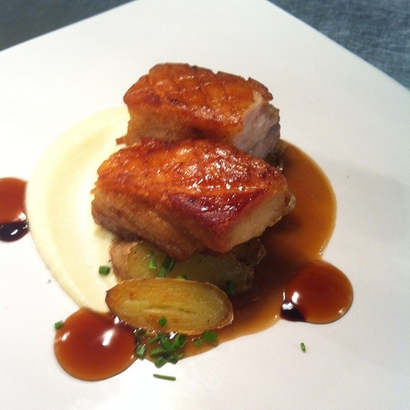 Seared 12Hour Pork Belly | Cauliflower Puree | Smoked Ham Sauce | Fingerling Potatoes | Root Beer Glaze  - Grey Gables Inn, Charlevoix, MI