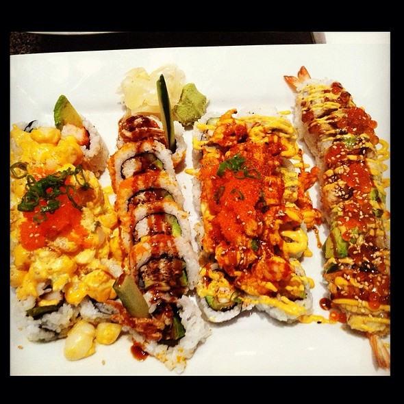 Volcano Roll, Mardi Gras Roll, Spider Roll, Rock And Roll @ Gogo Sushi Express & Grill