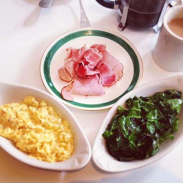 country ham, eggs & sautéed greens. @ 606 R&D