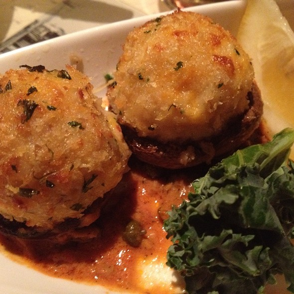 Crab Stuffed Mushrooms In A Cream Caper Sauce - Rudy's Hideaway, Rancho Cordova, CA
